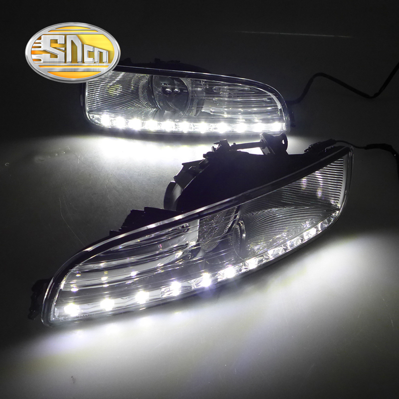 For Skoda Superb 2010 - 2013,Super Brightness Waterproof ABS Car DRL 12V LED Daytime Running Light With Fog Lamp Cover SNCN