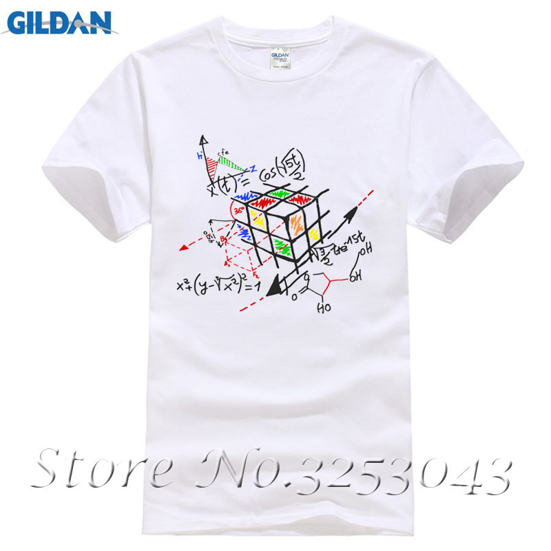 New arrival Math Work short sleeves Men T shirt fitness cotton Rubik ...