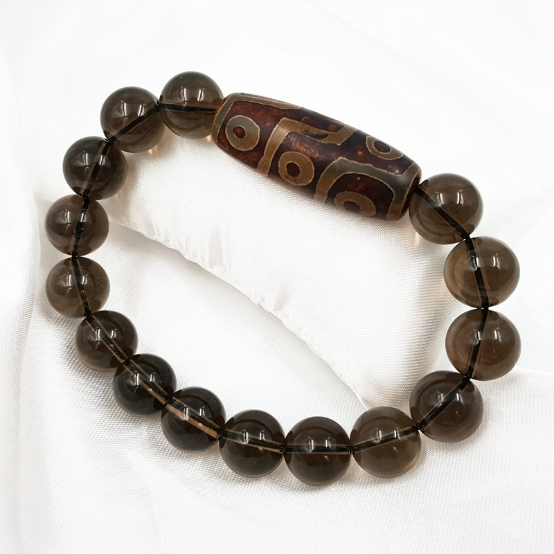 Lii Ji Natural Smoky Quartz DZI Bead Bracelet Total Size About 7.5'' Smoky Quartz  Size 12mm, DZI  About 14x38mm