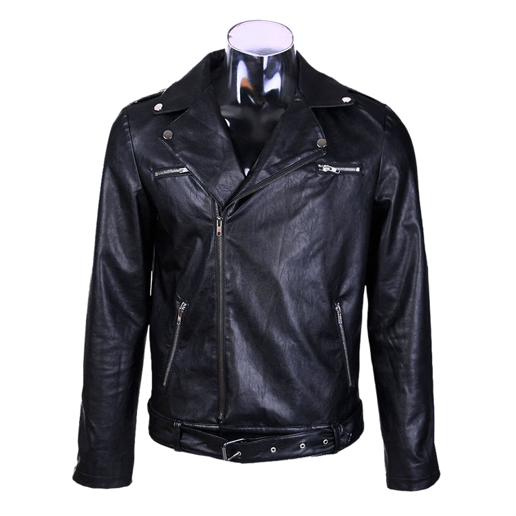 US TV Series The Walking Dead Negan Negan Cosplay Men's Black Leather Jacket Coat The locomotive SuitCM322