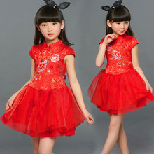 2016 Kids Dresses for Girls Cotton Floral Christmas Dress Children Customes SM100