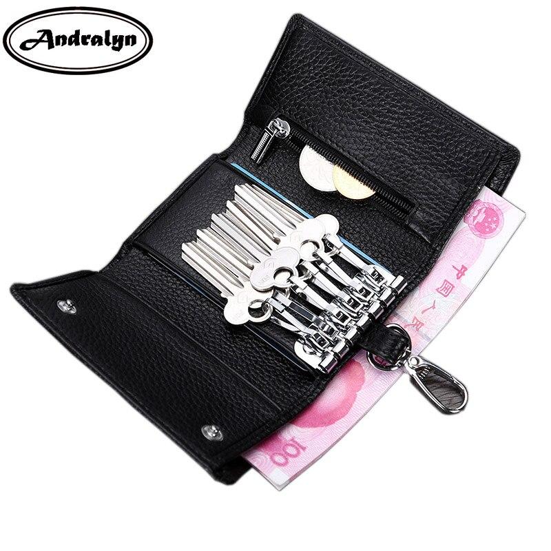 купить Andralyn Women & Men Genuine Leather Car Key Wallets Women Housekeeper Multi-functional Door Keys Coin Purse недорого