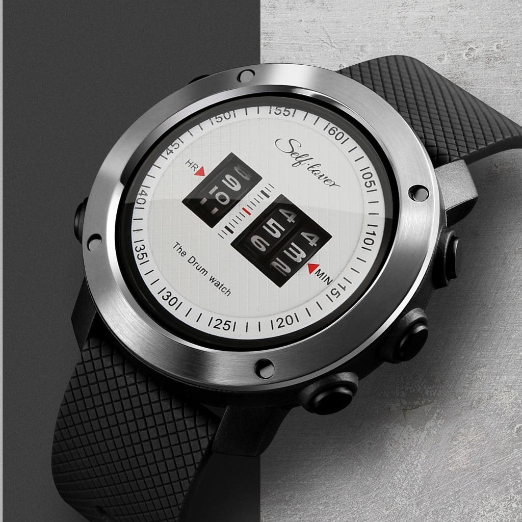 2019 Novo Design de Moda Mens Sport Watch Relógio Rufar de tambores Única Impressionante Tempo de Rolamento de Borracha Silicone Strap Mens Relógio relogio