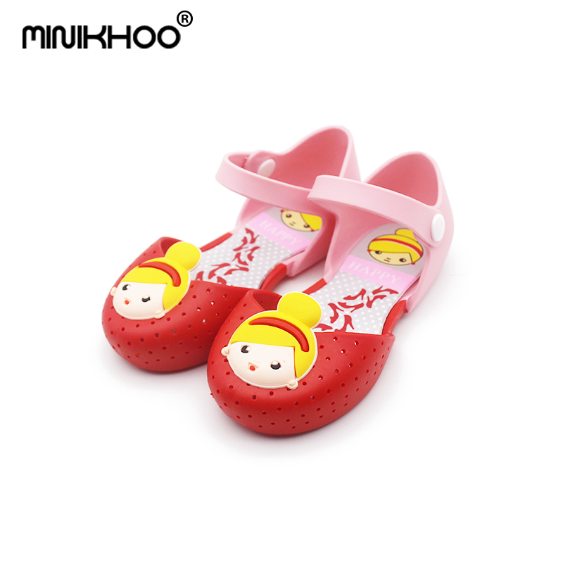 Mini Melissa 2018 Princess Sandals Summer Shoes Girls Princess Shoes Hole Sandals Breathable Sandals Soft Bottom Cartoon Girl