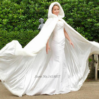 Fur Hooded Women Wedding Cape Bridal Jacket Cloaks Wrap Shawl Stole Winter Bridal Coats Bolero