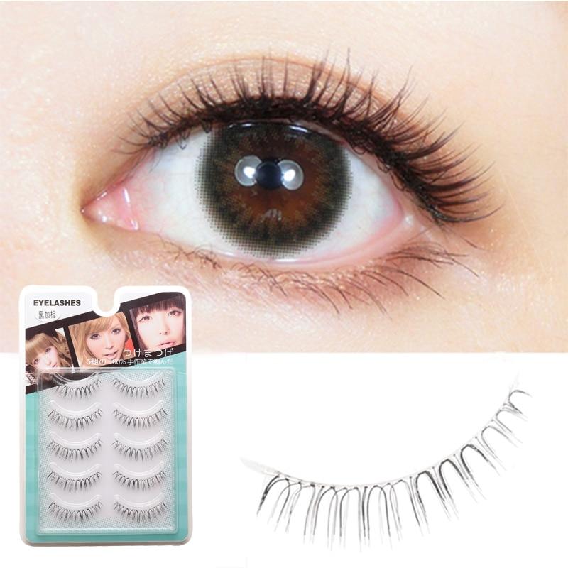 ICYCHEER Black & Brown Japanese Natural Wispy False Eyelashes Super Soft Fake Eyelashes Wispy Long Transparent Stem Eye Lashes