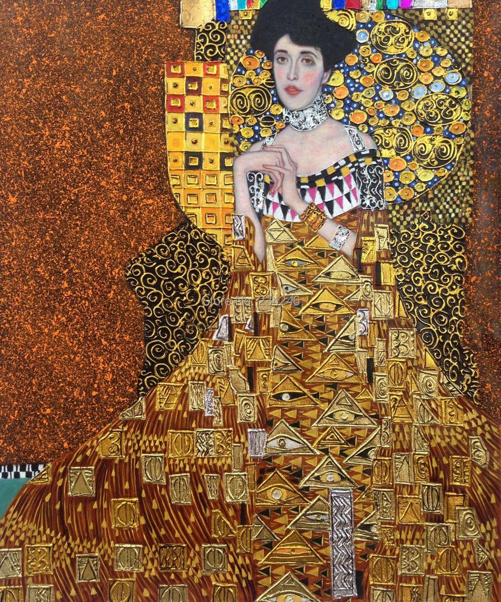 handmade gustav klimt portrait oil paintings portrait of adele bloch bauer i canvas wall art. Black Bedroom Furniture Sets. Home Design Ideas