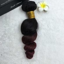 Full Shine Brazilian Remy Hair Weave Ombre Color 1B 99J Loose Wave Hair Bundle 100g Per Pack High Qualtiy Human Hair Weave