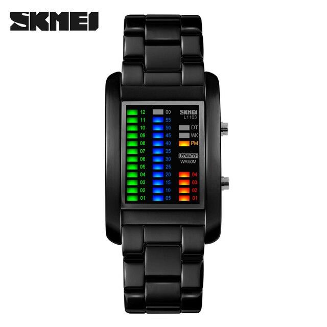 SKMEI Men Fashion Casual Watches Luxury Men Binary LED Watch Relogio Masculino Mens Tungsten Steel Waterproof Wristwatches
