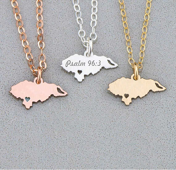 Unique Women Jewelry Country Pendant Honduras Necklace Best Gift For Friend Engrave Some Letters Accept Drop Shipping YP6072