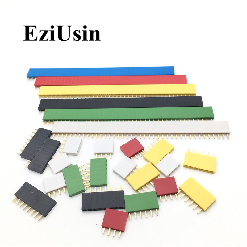 2.54mm Single Row Female PCB Board Pin Header Connector Strip Pinheader 2/3/4/6/8/10/16/40p 1 pin colourful socket For Arduino