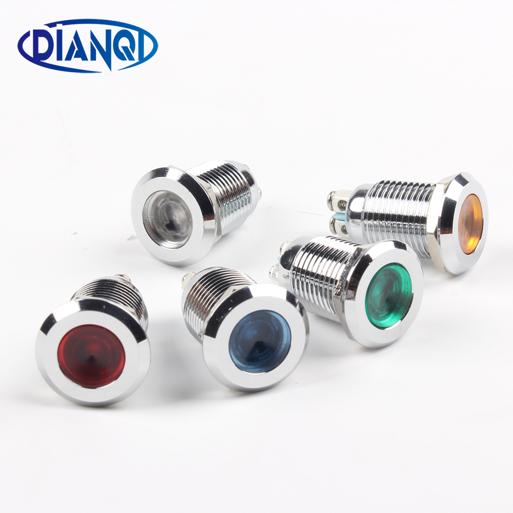 LED Metal Indicator Light 12mm Waterproof Signal Lamp POWE LIGHT 3V 6V 12V 24V 220v Pin Connect Red Yellow Blue White 12ZSD.PY.L