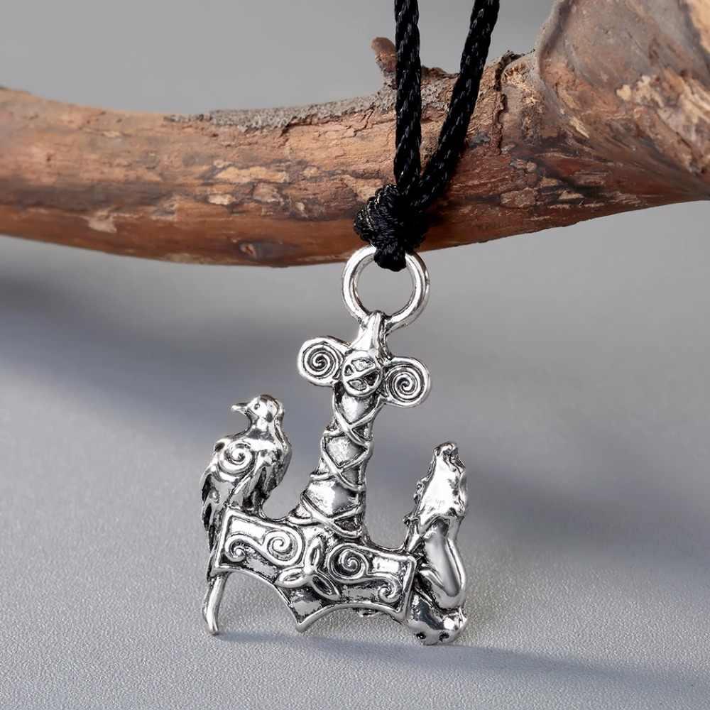 Cxwind Vintage Norse Viking Odin Lobo e Corvo Pingentes Colares Antiga Aves Animais Colar Mjolnir Talismã Jóias Nó
