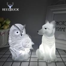 Dekoracyjna Lampka Nocna LED Królik Lis Sowa
