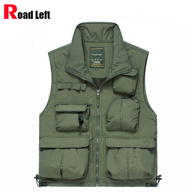 Mens Casual Stand Collar Military Vest Men Cotton Multi-pocket Photography Hunter Vests Male Waistcoat Jacket Gilet 4XL