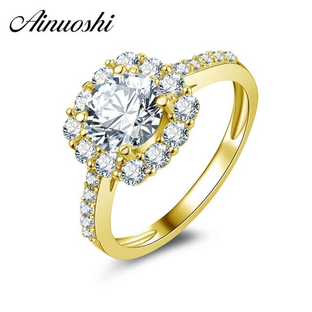 Ainuoshi 10 К твердого желтого золота Для женщин обручальное кольцо имитация Ювелирные изделия с алмазами Для женщин 1.25 КТ круглая огранка Подушка Halo обручальное кольцо