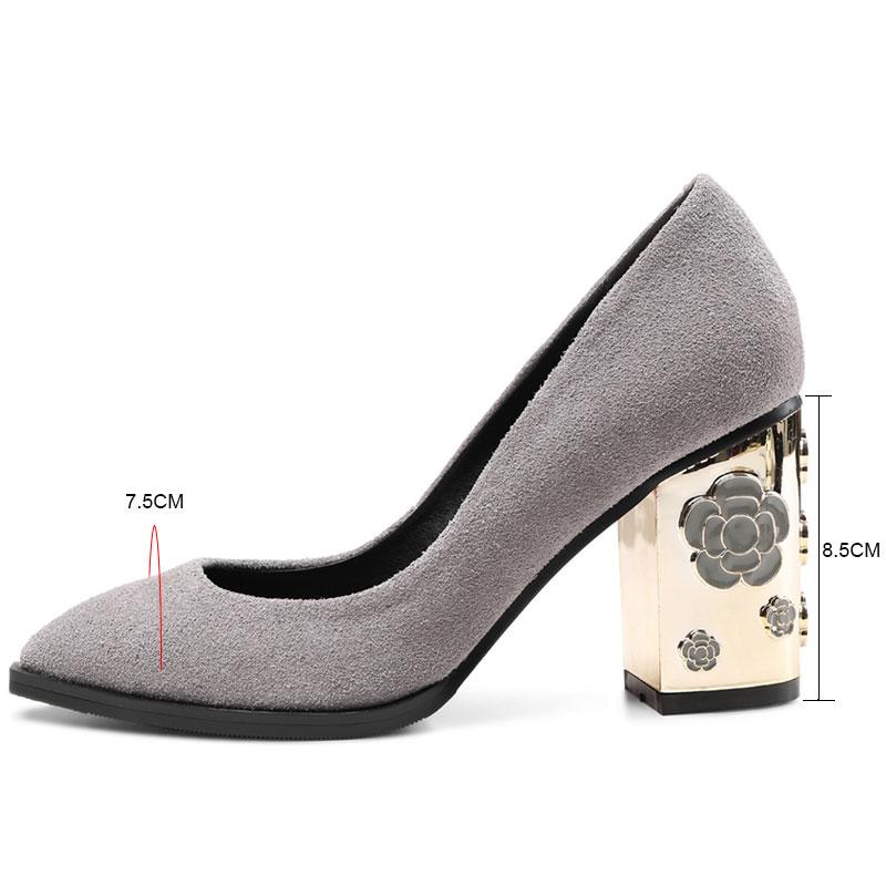 Tacones Moda Altos Fanyuan Suede Puntiaguda Otoño grey Sexy Grueso Black Tacón Zapatos Solo De Alto Bombas Mujeres Boda qrIwYr0