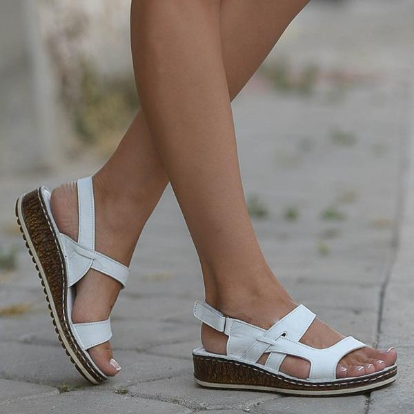 New Women Sandals Summer Middle Heels Wedge Casual Ladies Shoes Solid Hook & Loop Female Shoes Big Size 34-42 Outdoor Beach