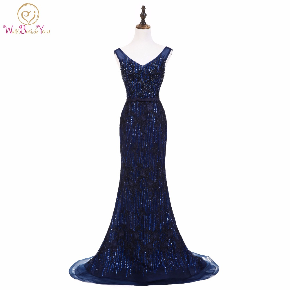 Walk Beside You Sexy Sequined Evening Dresses Long V-neck Mermaid Lace Applique Dark Blue Formal Party Prom Gowns In Stock