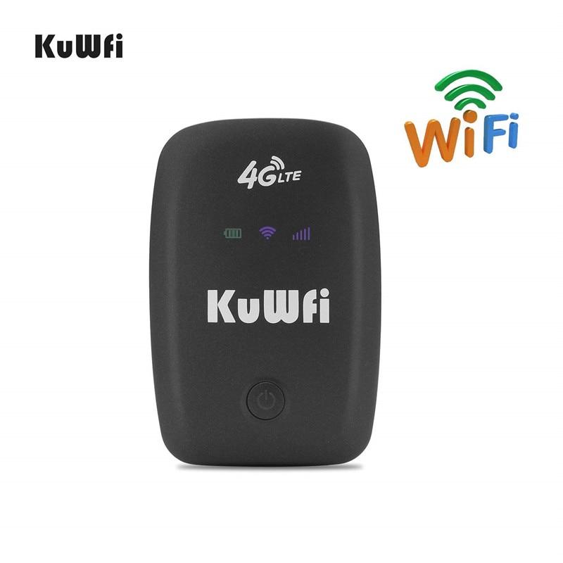 KuWFi разблокированный 4G LTE мобильный wi fi роутер портативный 3g/4G Wifi роутер с слотом для sim карты поддерживает LTE FDD B1/B3/B5-in 3G/4G маршрутизаторы from Компьютер и офис