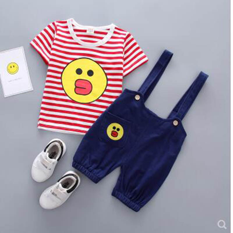 Baby Boy Girl Cotton Spring Clothes Set, Striped Cartoon Pattern T-Shirt + Pants Set, Fashion Baby Boy Girl Set Baby Clothes