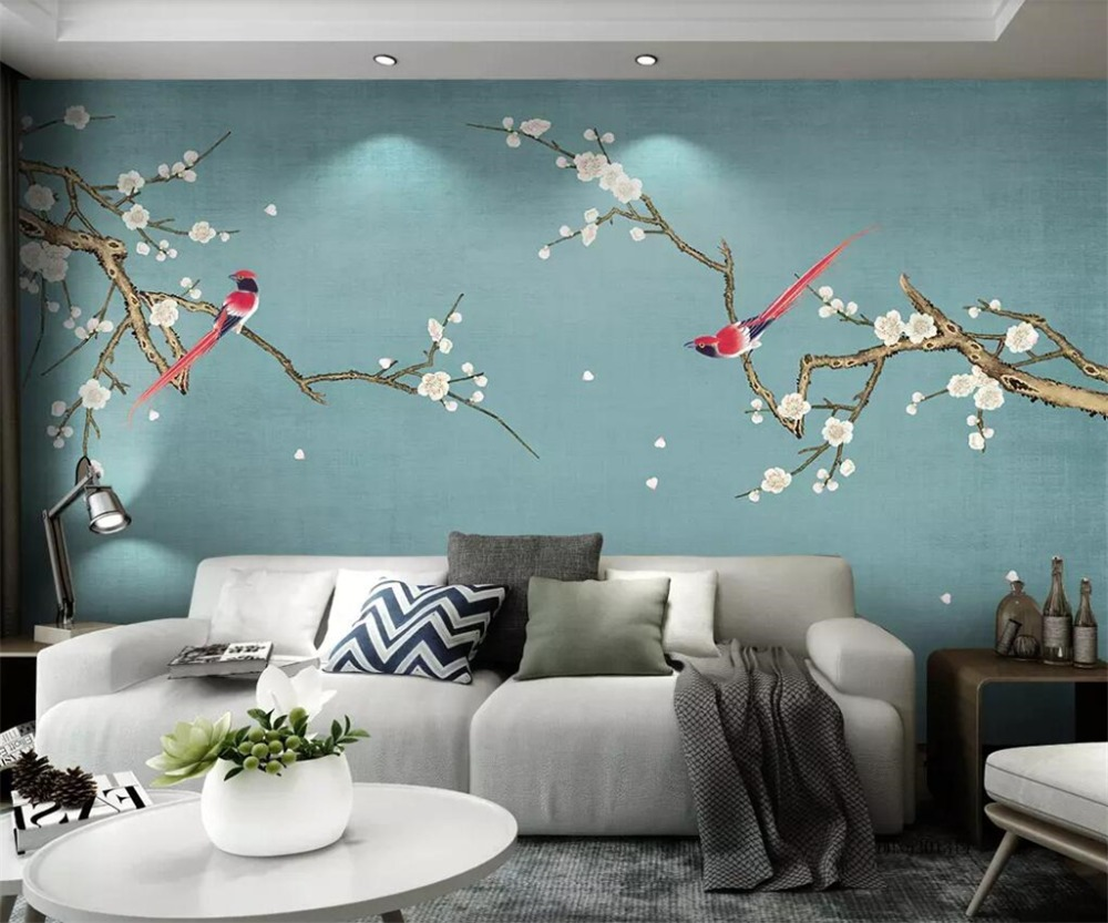 US $8 4 OFF Beibehang Custom Wallpaper 3d Mural Pear Flowers Bird Hand Painted Pen Bird And Flower New Chinese Style Wallpaper