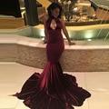 Africano de veludo cor de vinho preto menina vinho tinto prom dress 2017 ballkleider keyhole sereia longo vestido de noite formal vestido longo