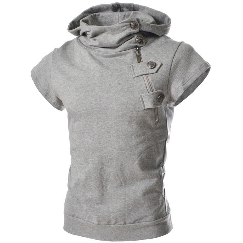 2018 men pure casual hooded men's short sleeve all-match s