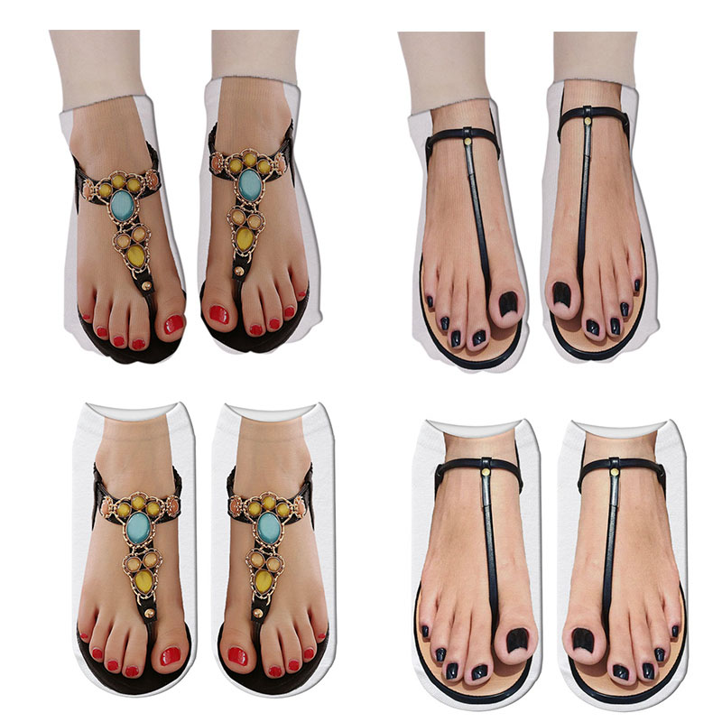 2019 Hot 3D Printed Foot Cotton Socks Women Art Funny Short Socks Sexy Flip Flops Print Ladies Low Ankle Socks Women 7S-ZWS47