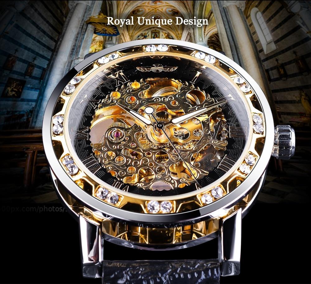 HTB1Rl1Aq8mWBuNkSndVq6AsApXaA Winner Black Golden Retro Luminous Hands Fashion Diamond Display Mens Mechanical Skeleton Wrist Watches Top Brand Luxury Clock