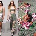 2017 estilo Quente na Europa e América marca mostra tecidos para camisas DIY gerânio floral vestido estampado saia 145 cm * 50 cm
