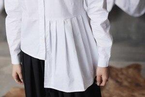 Image 5 - [Eem] yüksek kalite 2020 bahar Hem kat eklenmiş düzensiz ince rahat uzun kollu o boyun gömlek moda yeni kadın bluz LA315