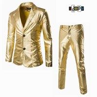Männer Anzug Jacke Und Hose Sets Gold Silber Schwarz Slim Smoking Formelle Mode Nachtclub Bühnenauftritte Anzug