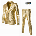 Men Business Suit Jacket And Pants Sets Gold Silver Black Slim Tuxedo Formal Fashion Night Club Stage Performances Suit