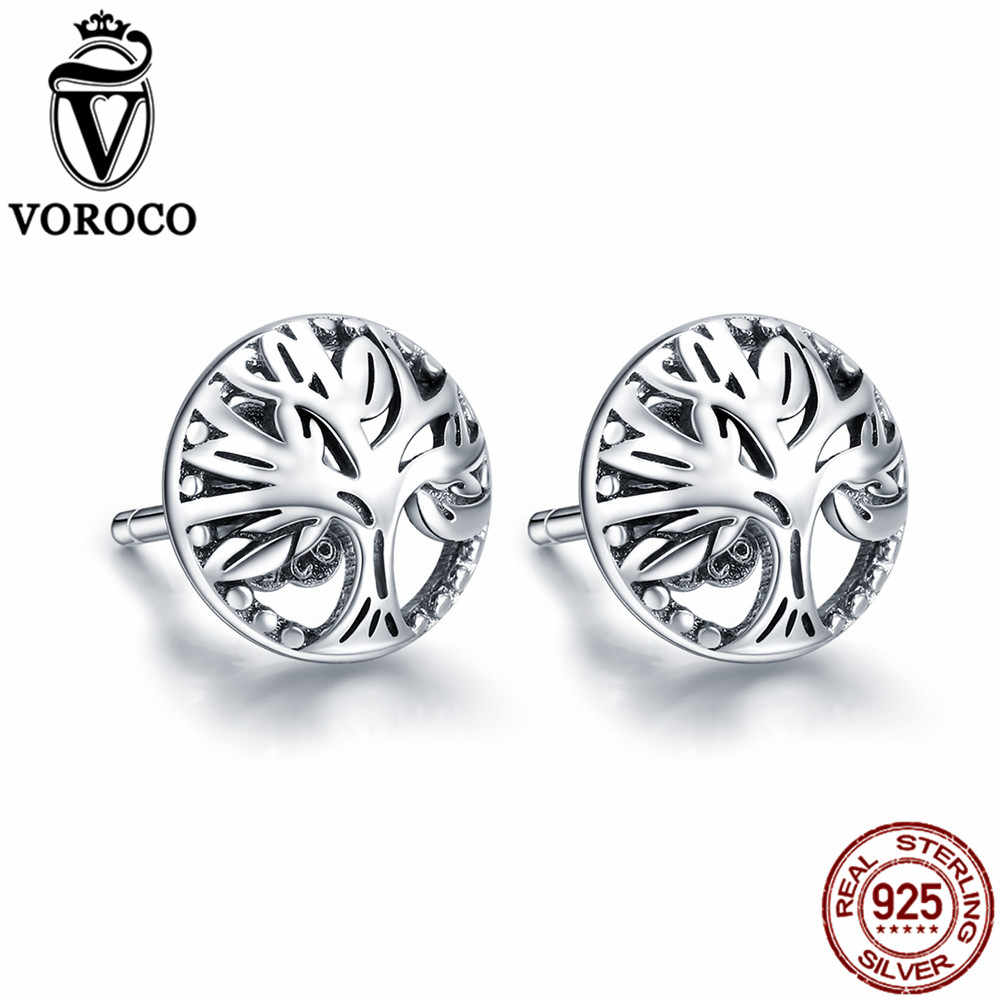 f6b43c12d VOROCO Authentic 925 Sterling Silver Black Zircon Cute Owl Stud Earrings  Animal Collection Girl Festival Gift