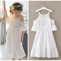 4 To 14 Years Kids Teenager Girls 2017 Summer Off Shoulder White Pink Ruffle Beach Dress