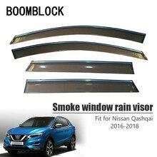 BOOMBLOCK 4 stücke Auto Abdeckungen Fenster Visier Sonne Regen Windabweiser Markise Schild ABS Für Nissan Qashqai J11 2016 2017 2018