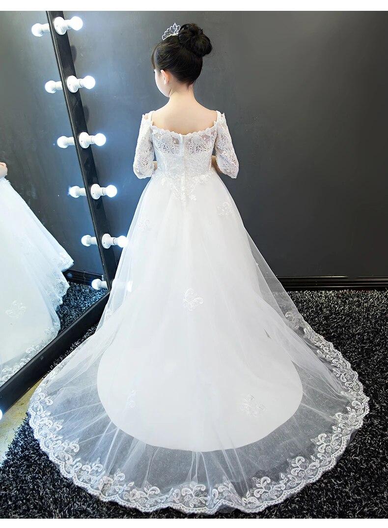 US $8.8 Wedding kids girls princess dress baby girls luxury clothes  wedding dress with long tail piano costume birthday gift fashion kidgirls