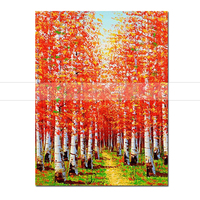 1 Piece Artist Painted orange Leaves Tree Landscape Oil Painting on Canvas 100% Handmade Abstract Wall Art Picture Home Decor