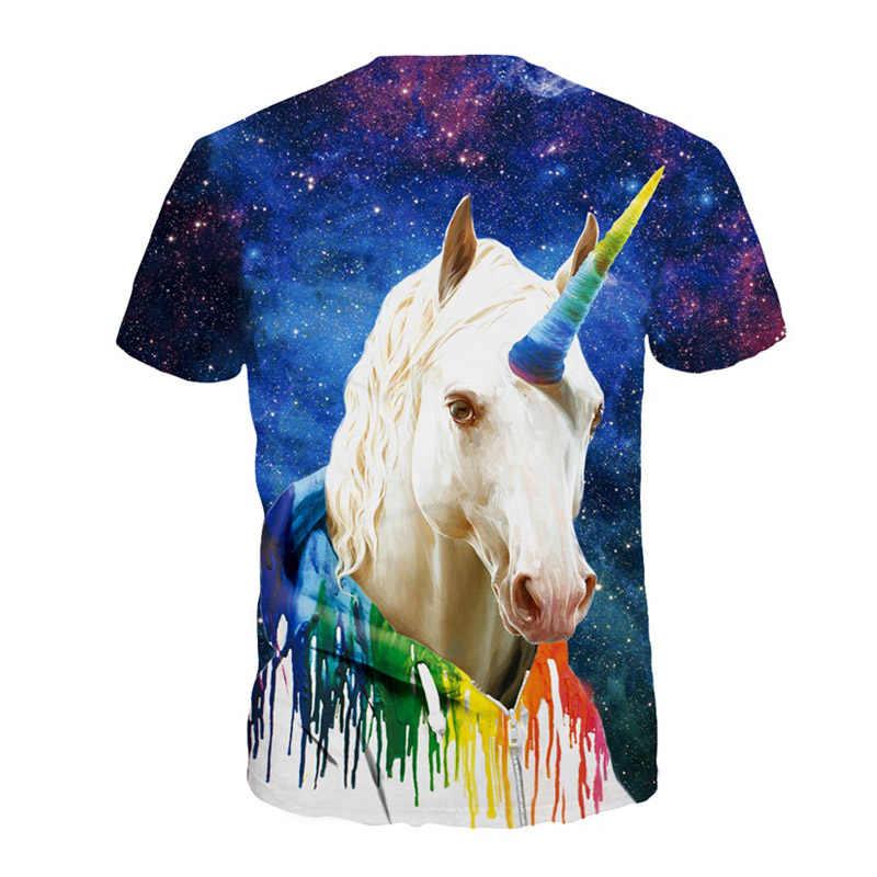 Летние Животные Единорог 3D печатные футболки мужские Красочные o-образным вырезом короткий рукав футболки Топы Плюс Размер хип хоп Забавные футболки