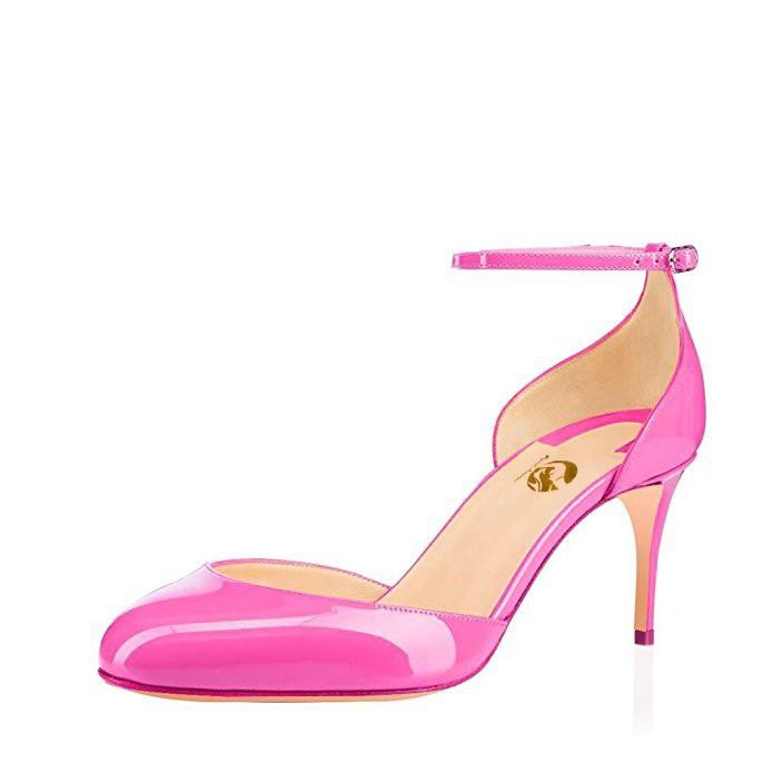الأصلي نية أزياء النساء الصنادل جولة تو رقيقة الكعوب الصنادل أسود Fushcia العاج عارية الوردي أحذية امرأة زائد حجم 4  15-في كعب عالي من أحذية على  مجموعة 3