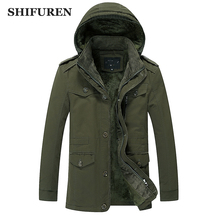SHIFUREN Winter Warm Jakcet Men Hooded Parka Cotton Outwear Plus Size M-6XL Thicken Fleece Velvet Linned Men Causal Coat(China)