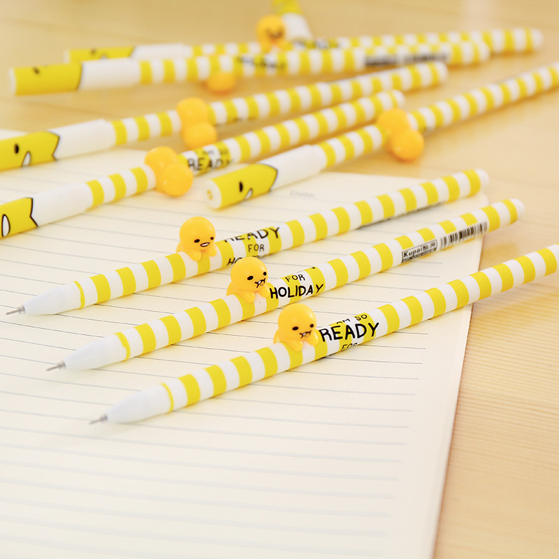 4pcs/lot 0.38mm Funny Stripes 3D Lazy Egg Gudetama Gel Pen Promotional Gift Stationery School & Office Supply