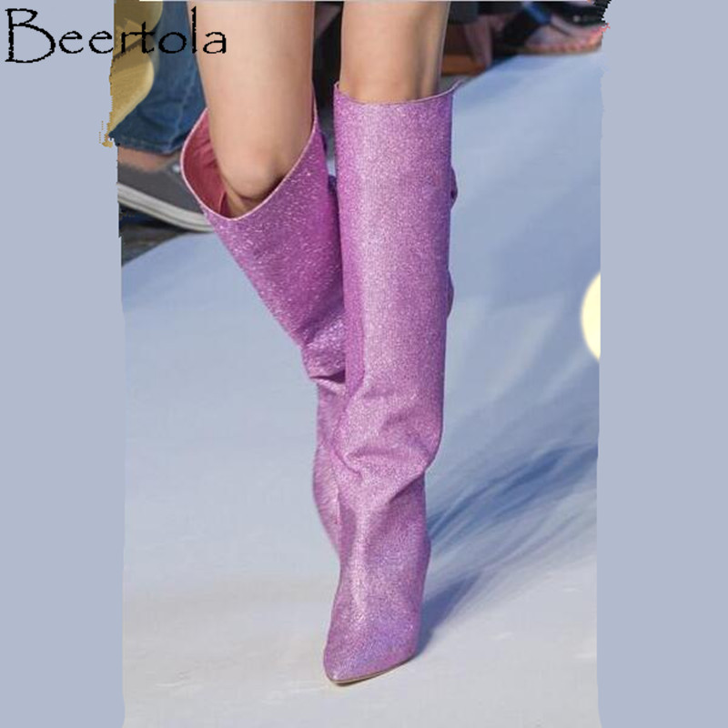 Bottes Genou Nouvelle Picture Femme Haute De as Feminina Mujer Mode Design Stage Bling Botas Show Picture Soie Noeud Beertola T As Papillon n5XAq1dxq