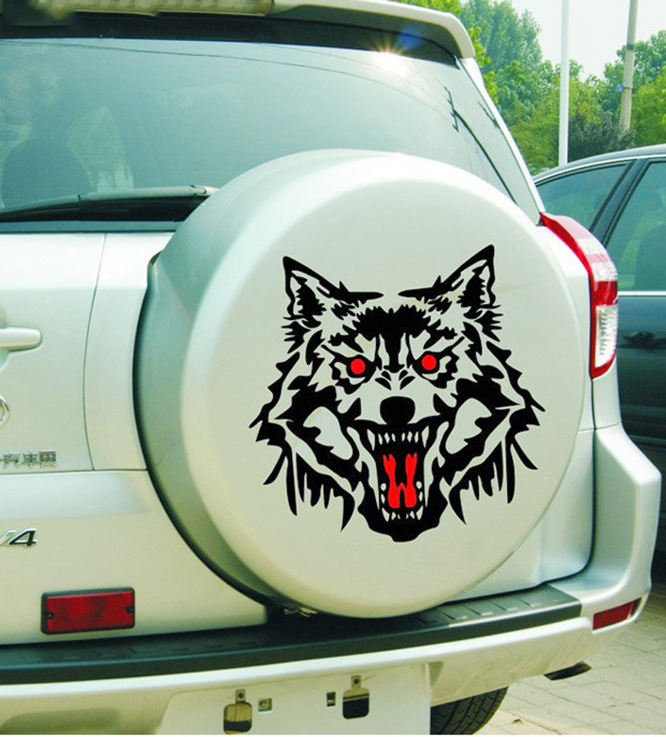 Image 2 - OCT 23 Car Vucuiys Wolf head Animal Door Decal Vinyl Graphics Auto Front/Side stickers 2pcs/set-in Car Stickers from Automobiles & Motorcycles