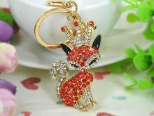 Корона Фокс Мода Красота Брелок Rhinestone Кристаллическое Шарм Ювелирные Изделия Женщины Сумка Подвеска Автомобиля Брелок Подарок