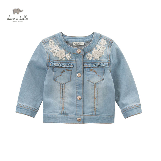 863923aec3f99 DB5034 davebella spring baby girls jeans jacket light blue coat fancy  outerwear kids beautiful coats