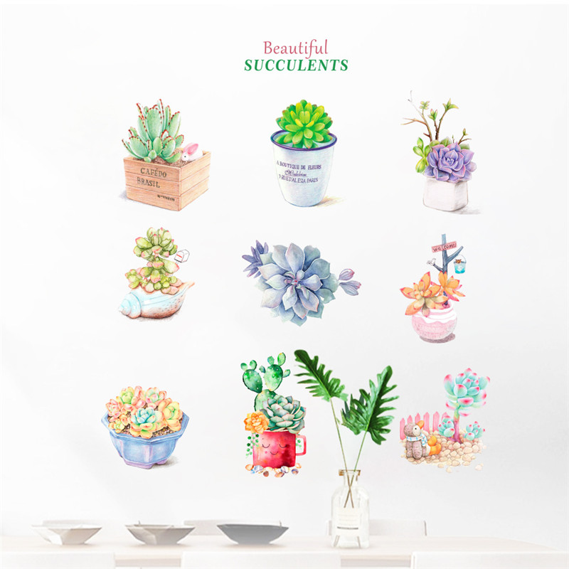 Room decoration fresh beautiful succulent potted wall stickers home bedroom self-adhesive wallpaper living room furniture decals