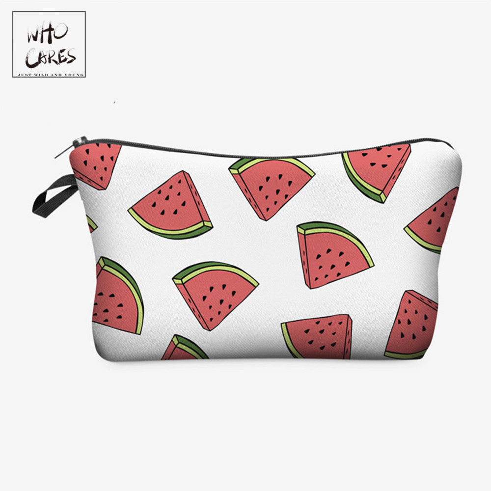 Who Cares Fashion Makeup Bags Fruit Watermelon Printing Cosmetics Pouchs For Travel Ladies Pouch Women Cosmetic Bag