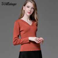 Willstage Women Long Sleeve T Shirts Plus Size 4XL Rivet Bottoming Shirts Skinny Stretch Knitted Tops